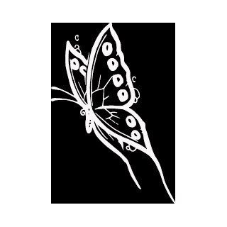 "6"" WHITE Butterfly with long tails flying left. Vinyl die cut bumper sticker decal for any smooth surface such as windows bumpers laptops or any smooth surface.   Wall Decor Stickers"