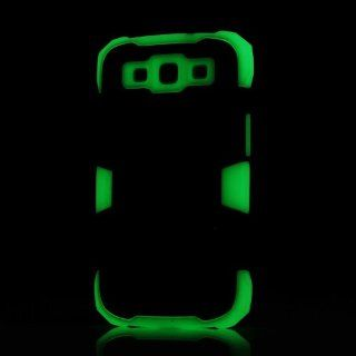 Meaci® Samsung Galaxy S3 Black&light Green Against Shocks 3 in 1 Fluorescence Hard Case 1x Free Anti dust Plug Stopper(random Color) Cell Phones & Accessories
