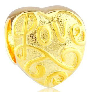 Soufeel Golden Love Heart Gold Plated European Charms Fit Pandora Bracelets Bead Charms Jewelry