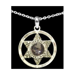 From the Heart Sheriff Necklace with Gray Multifaceteden Crystal in the Center of Star inside of a Circular Charm. Sheriff Department is engraved on the Circle. 18 inch Silver Plated Necklace arrives in a Gift Box. Perfect Gift for a Sheriff,Sheriff's