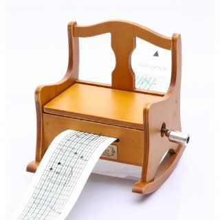 Antique Vintage Wooden Music Box Musical Rocking Chair, DIY Make Yr Own Song Include a Punch and 3 Music Papers, 1 Has Musical Note and 2 Are Blank and You Can Create Your Own Song And You Can Also Use a Thickness Paper to Create Music Paper   Jewelry Mu