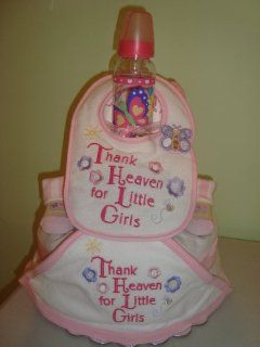 Thank Heaven for Little Girls Flowers and Butterflies 3 Layer Diaper Cake (Decorated All Around)   Comes Decoratively Wrapped Making it a Great Gift or Shower Centerpiece   Other Gift Options Also Available Health & Personal Care