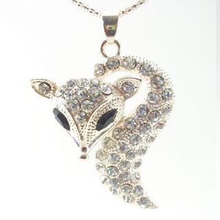 DaisyJewel Couture Pave Kitsune Rose Silver/Light Gold Fox   Black Crystal Eyes and Nose Among a Sea of Sparkling Crystals Pendant Necklaces Jewelry