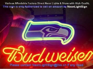 New NFL Seattle Seahawks Football Beer Bar Real Glass Tube Budweiser Real Neon Sign Glass Tube Light Christmas Gift