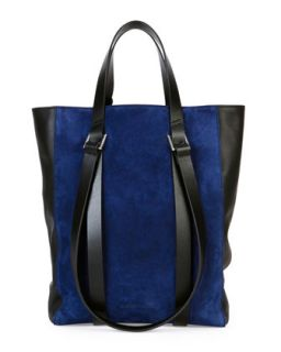 Tokyo Suede Mini Shopper Tote Bag, Blue/Black   CoSTUME NATIONAL