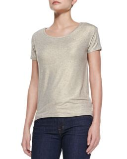 Womens Short Sleeve Metallic Soft Touch Tee   Majestic Paris for