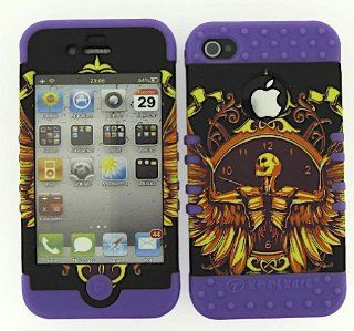 HYBRID IMPACT SILICONE CASE + LIGHT PURPLE SKIN FOR APPLE IPHONE 4 4S SKELETON WINGS Cell Phones & Accessories
