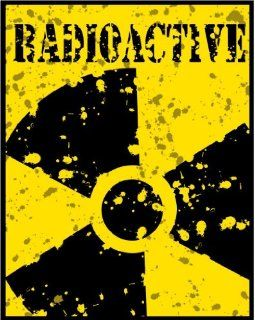"2"" wide Distressed Radioactive sign #1. Printed vinyl decal sticker for any smooth surface such as windows bumpers laptops or any smooth surface."