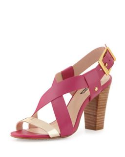 Victoria Two Tone Cross Front Chunky Sandal, Fuchsia/Gold