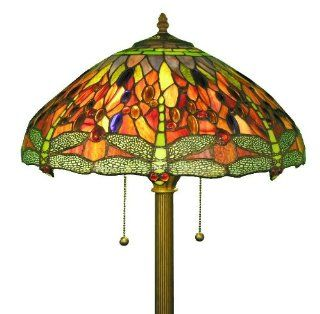 Tiffany Style Dragonfly Floor Lamp This lamp has been handcrafted using methods first developed by Louis Comfort Tiffany. Tiffany style Dragonfly Floor Lamp has intricate dragonfly pattern that will enhance your home decor.