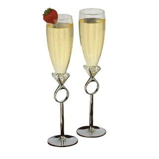 Jamie Lynn Diamond Ring Toasting Glasses, Set of 2 Champagne Glasses Kitchen & Dining