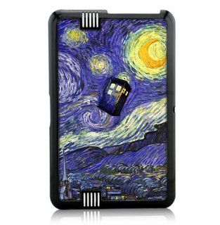"Kindle Fire HD 7"" Protective Case Black Plastic Case   Dr Who Tardis Starry Night Painting Phone Booth Call Box Blue Cell Phones & Accessories"
