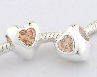 "925 Sterling Silver ""Heart"" with Citrine CZ Czech Crystal November Birthstone Charms/beads for Pandora, Biagi, Chamilia, Troll and More Bracelet Jewelry"