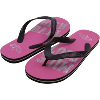 Denver Broncos Ladies Foil Slogan Flip Flops   Pink/Black