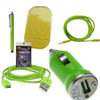 Green USB Car & Truck Charging Kit for Tracfone LG221c, 840g, 430g, 235c, Samsung S425g, t330g, t245g. Comes with 3ft Short Cable, USB Car Charger, Sticky Dash Pad, 3.5mm AUX Cord, Stylus Pen and Radiation Shield. Cell Phones & Accessories