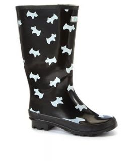 Splash Black and White Scottie Dog Print Wellies