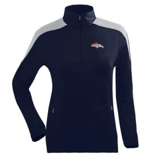 Antigua Denver Broncos Ladies Succeed Half Zip Pullover Jacket   Navy Blue