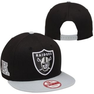New Era Oakland Raiders Baycik Snapback Adjustable Hat   Black/Silver