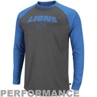 Detroit Lions Go Long II Thermal Long Sleeve Performance T Shirt   Gray