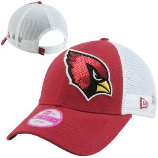 New Era Arizona Cardinals 9FORTY Ladies Sequin Shimmer Adjustable Hat   Red/White