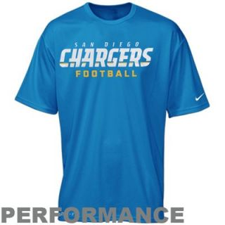 Nike San Diego Chargers Authentic Football Font Performance T Shirt   Light Blue