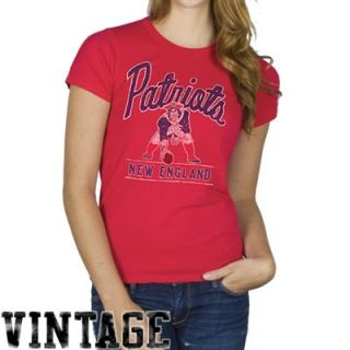 Junk Food New England Patriots Ladies Vintage Kick Off T Shirt   Red