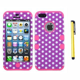 Hard Plastic Snap on Cover Fits Apple iPhone 5 5S Dots(Purple/white)/Electric Pink TUFF Hybrid + A Gold Color Stylus/Pen AT&T, Cricket, Sprint, Verizon (does NOT fit Apple iPhone or iPhone 3G/3GS or iPhone 4/4S or iPhone 5C) Cell Phones & Accessor