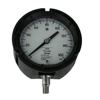 "Ashcroft Duralife Type 1259 Fiberglass Reinforced Thermoplastic Case Glycerin Filled Pressure Gauge, Stainless Steel Bourdon Tube and Socket, 4.5"" Dial Size, 1/4"" NPT Lower Connection, 0/160 psi Pressure Range Industrial Pressure Gauges Industr"