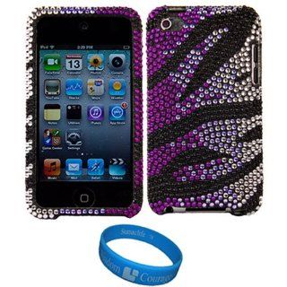 Purple Burst Hard Case Cover with Rhinestone Adornment for Apple iPod Touch 4th Generation (8GB 16GB 32GB) Latest iPod + SumacLife TM Wisdom*Courage Wristband   Players & Accessories