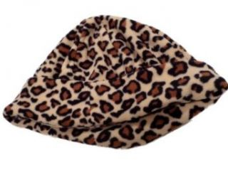 Chill Proof Womens Tan Leopard Print Microfleece Beanie fleece hat Clothing