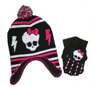 Monster High Girls Skullette Winter Hat & Gloves Set Clothing