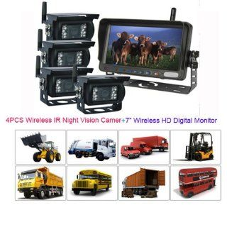 "Rupse 7"" QUAD HD Monitor Wireless IR Night Vision Rear View Back up Camera System for RV Truck Trailer Bus or Fifth Wheel  Vehicle Backup Cameras"