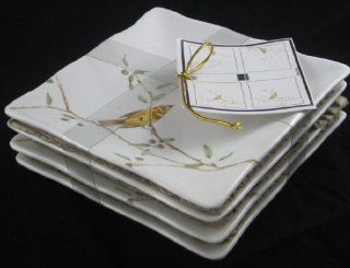 222 Fifth Early Bird Fine China Square Set of Four Appetizer Plates   Yellow Bird Kitchen & Dining