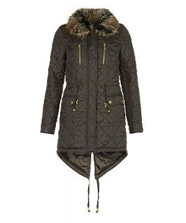 Miss Real Khaki Quilted Faux Fur Trim Parka