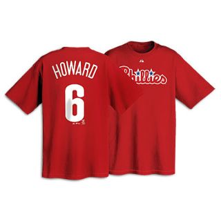 Majestic MLB Name and Number T Shirt   Mens   Baseball   Clothing   Philadelphia Phillies   Howard, Ryan   Red
