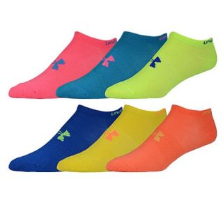 Under Armour Brights No Show 6 Pack Socks   Womens   Training   Accessories   Solid/Assorted
