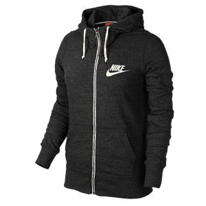 Nike Gym Vintage Full Zip Hoodie   Womens   Casual   Clothing   Black/Sail