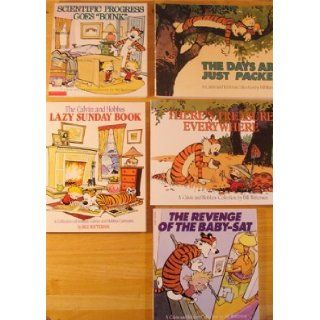Calvin & Hobbes Super Set of 5 The Revenge of the Baby Sat, Lazy Sunday Book, Scientific Progress Goes Boink, Calvin and Hobbes, Homicidal Psycho Jungle Cat Bill Watterson 9780751508314 Books