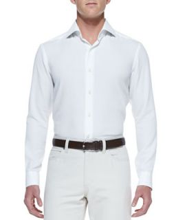 Mens Long Sleeve Shirt, White   Ermenegildo Zegna   White (XXXL)