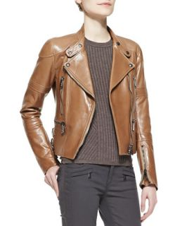Womens Napa Leather Zip Moto Jacket   Belstaff   Camel (48/12)