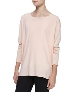 Womens Silk Front Long Sleeve Tunic   Nude (XL)