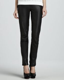 Womens Perfitol Straight Leg Leather Pants   Theyskens Theory   Black (2)