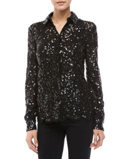 Womens Floral Lace Sequined Blouse   Black (2)