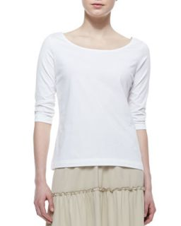 3/4 Sleeve Knit Top, White, Womens   Joan Vass   White (1X (14/16))
