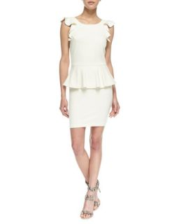 Womens Ruffle Sleeve Peplum Ponte Dress, Ivory   Amanda Uprichard   Ivory