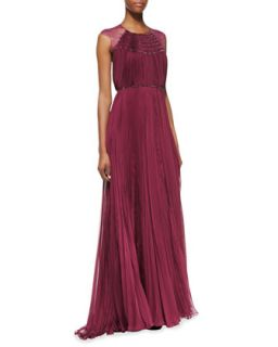 Womens Patsy Silk & Lace Cap Sleeve Gown, Magenta   Catherine Deane   Magenta