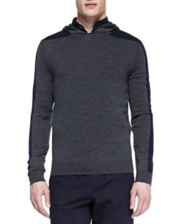Mens Racing Stripe Hooded Pullover, Gray   Vince   Grey (MEDIUM)