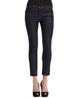 Womens Side Contrast Stripe Cropped Jeans   Alexander McQueen   Blue/White