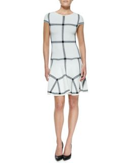 Womens Selma Checkered Knit Dropped Waist Dress   Alice + Olivia   White/Black