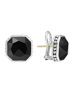 14mm Sterling Silver Onyx Rocks Clip On Earrings   Lagos   Silver (14mm ,4mm )